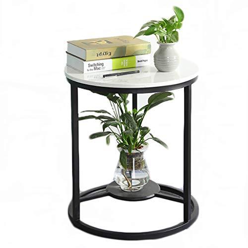 table basse nordique Simple fer art marbre balcon chambre canapé côté table de chevet Creative (Couleur : A, taille : 50cm*55cm)