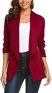 ELESOL Women Casual Basic Work Office Blazer Open Front Draped Asymmetric Cardigan Jacket