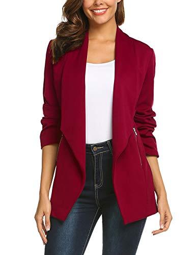 ELESOL Women's Long Sleeve Open Front Asymmetrical Hem Casual Blazer Jacket Wine Red/S