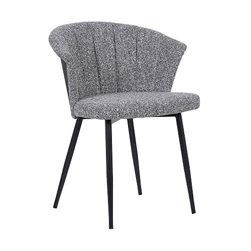 Armen Living Orchid Contemporary Fabric Dining Room Kitchen Chair, 30.5 Inch Height, Gray, Black