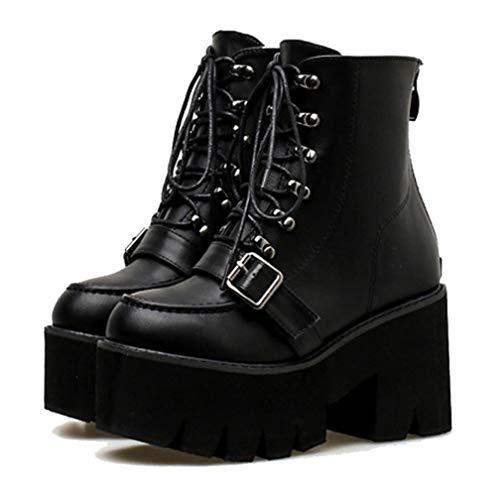 Botas de Mujer Correa de Hebilla Plataforma de Cordones de tacón Cuadrado Alto Primavera Otoño Mujer Botines de gótico Negro Botas de Moto