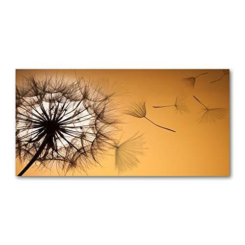 Tulup Impresión en Vidrio - 100x50cm - Cuadro Pintura en Vidrio - Cuadro en Vidrio Cristal Impresiones - Flores y Plantas - Naranja - Diente de león