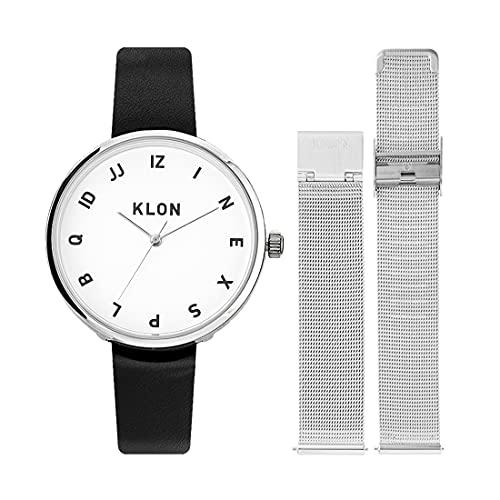 腕時計 替えベルト セット メンズ レディース 2way ブラック シルバー 人気 ブランド おしゃれ レザー 38mm KLON MOCK NUMBER -REPLACE model- [38/W-FACE]