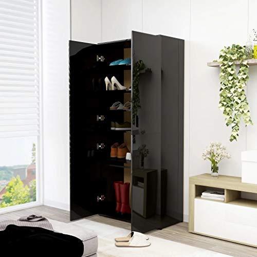 Cikonielf - Zapatero de madera aglomerada, 80 x 39 x 178 cm, mueble zapatero con 2 puertas, 6 estantes y una barra colgante para la entrada de dormitorio, color negro brillante