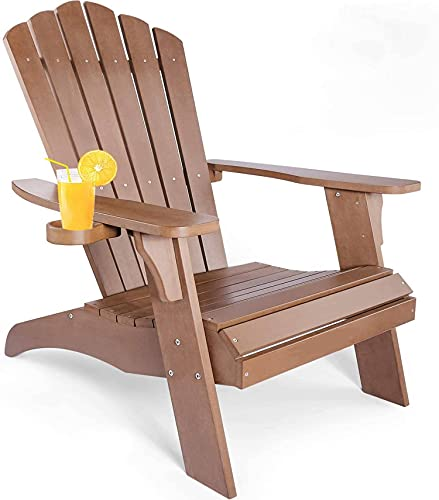 Adirondack Chair with Cup Holder, Fade-Resistant Outdoor Seating with 350lbs Duty Rating, All-Weather Plastic Patio Chair for Fire Pit & Garden, 38L 30.25W 41.5H (Brown) …