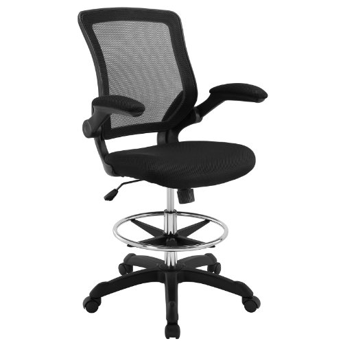 Modway MO-EEI-1423-BLK Veer-Reception Desk Flip-Up Arm Drafting Chair, Black