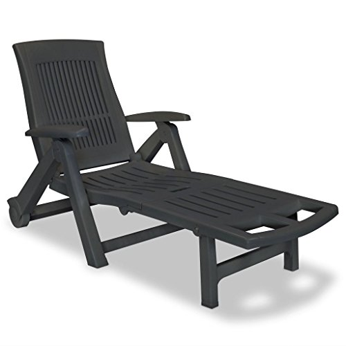 Rugs and Rooms Outdoor Summer Garden Sun Lounger with Footrest Plastic Anthracite