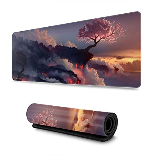 Cherry Tree Volcano Nature Large Gaming Mouse Pad with Stitched Edges (31.5x11.8In), Extended Mousepad Non-Slip Rubber Base Keyboard Mat Desk Pad for Work Gaming