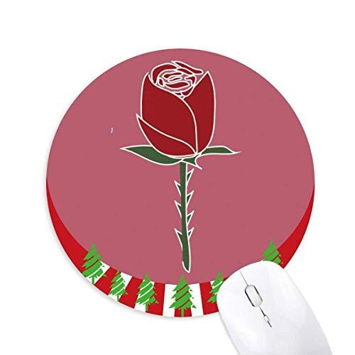 Rotes Pflaster Blumenpflanze Muster rund Gummi Maus Pad Weihnachtsdekoration