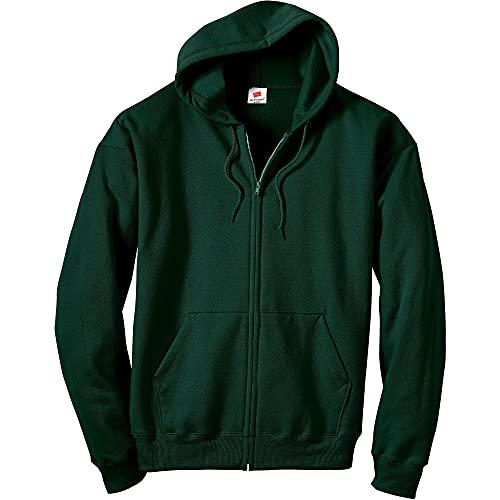 Hanes Men's Full-Zip Eco-Smart Hoodie, Deep Forest, Large