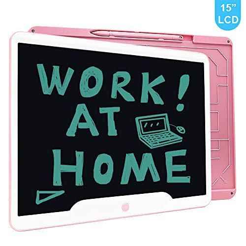 Richgv 15 Zoll LCD Writing Tablet mit Anti-Clearance Funktion und Stift, Digital Ewriter Grafiktabletts Schreibtafel Papierlos Notepad Doodle Board (Rosa)