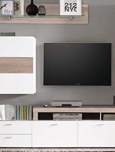 Wohnwand Monty 351x207x47 cm weiß Hochglanz Eiche Trüffel Schrankwand Wohnzimmerschrank Vitrine Wandschrank Wandboard TV-Board LED-Beleuchtung - 3