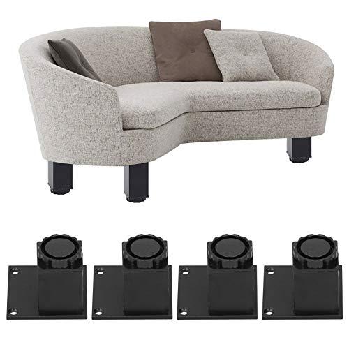 Pies de soporte para muebles, 4 patas cuadradas de metal, resistentes patas de aleación de aluminio para bricolaje, altura ajustable de 15 mm / 0,6 pulgadas, gran capacidad de carga para sofá(60mm)