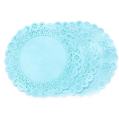 25 Pack -10 inch Pastel Sky Blue Paper Lace Color DOILIES | Individually Quality Hand Dyed for Wedding, Baby Shower and Party Event Table Decor | Use as Elegant Plate Charger Placemats, Invitations