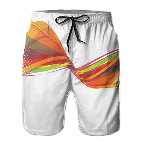 Men Swim Trunks Beach Shorts,Rainbow Curved Wave Smoke Like Image with Pixel Style Detailed Work of Art Print XL