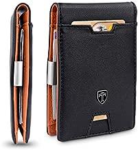 TRAVANDO Mens Slim Wallet with Money Clip AUSTIN RFID Blocking Bifold Credit Card Holder for Men with Gift Box (Black & Orange)