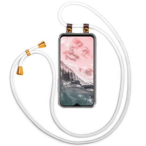 moex Mobile Phone Chain Compatible with Xiaomi Redmi 9T - Silicone Case with Strap - Mobile Phone Case for Hanging - Case Transparent with Cord - Protective Case with Cord - Interchangeable in White