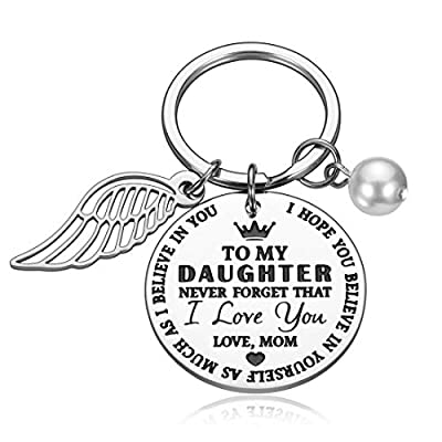Daughter Gifts from Mom Inspirational Keychain Gift Valentines Birthday Graduation Key Ring to Girls from Mother Never Forget I Love You