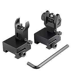 top 10 iron sights for ar 15 Feyachi Flip Up Front Back and Iron Visor Picatinny  Weaver Rail Black Perfect Backup