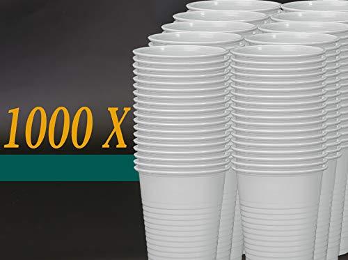 Einwegbecher 0,3ml Trinkbecher Plastikbecher Partybecher Weiß Einwegtrinkbecher Ausschankbecher Schaumrand Bierbecher Cocktailbecher, Wunsch:1000 Stück