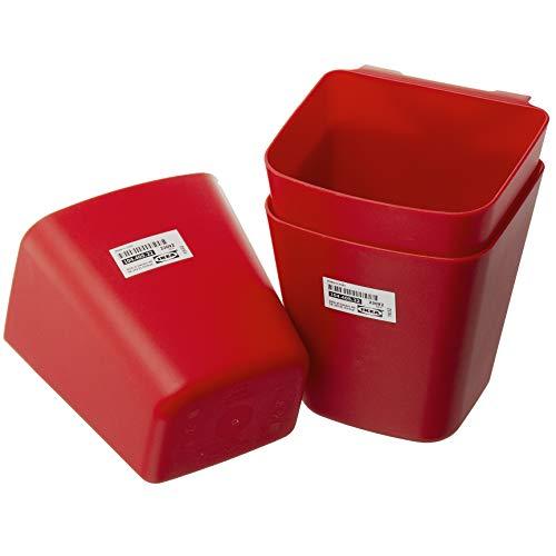 IKEA SUNNERSTA - Juego de 3 recipientes colgantes para cocina, 12 x 11 cm, color rojo