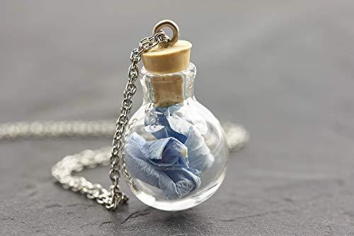 Kette Mini Hortensie Herz Mond Buchstabe Gravurechte Blüten blau lange Halskette handmade Glasschmuck Tolle Geschenkidee
