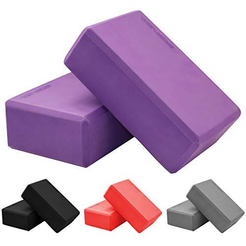 SportVida Yoga Block 2er Set aus Eva-Schaum - Yogablöcke mit Foam - Yogaklotz Set für Fitness und Pilates - Hilfsmittel für das Training - Sportzubehör zuhause - Joga Klotz (Lila)