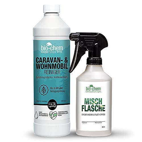 Bio-Chem Caravan- und Wohnmobil-Reiniger Konzentrat - 1000 ml + Handspray-Mischflasche - für Wohnmobile Wohnwagen Vorzelte Regenstreifenentferner