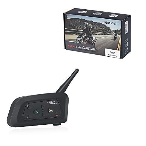Vnetphone wireless Bluetooth calcio arbitro citofono cuffia moto Full Duplex impermeabile interfono con funzione FM per 4utenti V4C 1200m