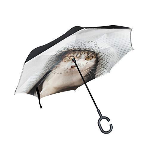 Paraguas invertido de Doble Capa, a Prueba de Viento, para Exteriores, para Lluvia, Sol, para automóvil, con Mango en Forma de C, con Mango en Forma de C, Cubierto con edredones