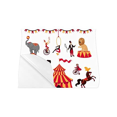 Pegatina Carteles para pared Conjunto de elementos de circo Tienda de campaña Mono en bicicleta Air Gym Carteles coloridos Cartel para colorear en pared 20x16 pulgadas Arte de pared Impresión Gran d