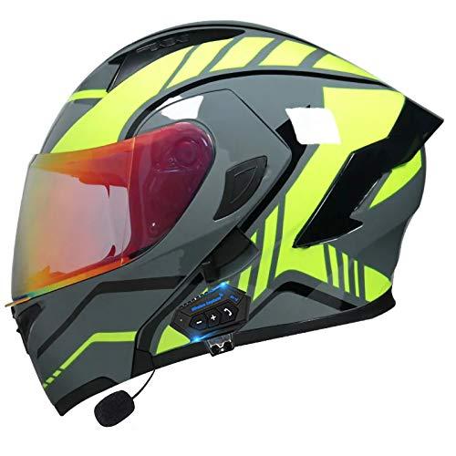 STRTG Casco Modular Bluetooth para Motocicleta, Altavoz Incorporado para Casco De Motocicleta Abatible con Función De Respuesta Automática, Casco Integrado con Certificación ECE/Dot A,XL