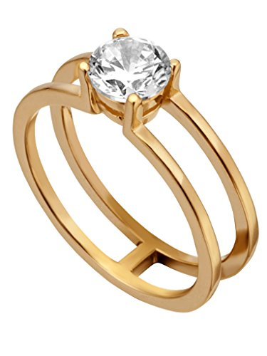 Esprit ESRG00101218 - Anillo para mujer de plata de ley 925 oro blanco con circonitas, 18,1 mm, talla 57