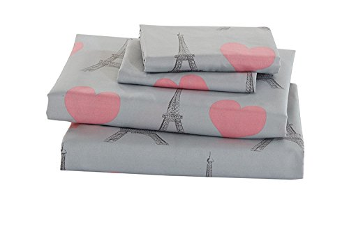 Elegant Home Multicolors Pink Grey Paris Eiffel Tower Bonjour Design with Hearts Fun Printed Sheet Set with Pillowcases Flat Fitted Sheet for Girls/Kids/Teens # Paris (Full Size)