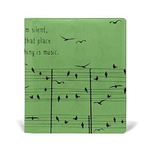 My Daily Birds auf Bogen Musik Notizen wiederverwendbar Leder Book Cover 9X 11& 22,1x 14,7cm für mittlere bis Größe Jumbo Hardcover Schulbücher lehrbüchern., Multi Farben 9 x 11 in grün