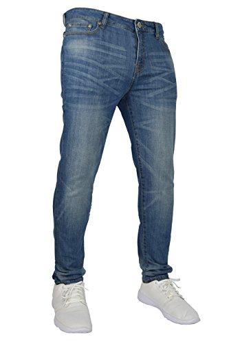 New Herren Stretch Skinny Slim Fit Flex Jeans Hose dehnbar Denim 98% Baumwolle & 2% Stretch Hosen, Skinny, Größe 32W x 34L (32L UK), Farbe Hellblau
