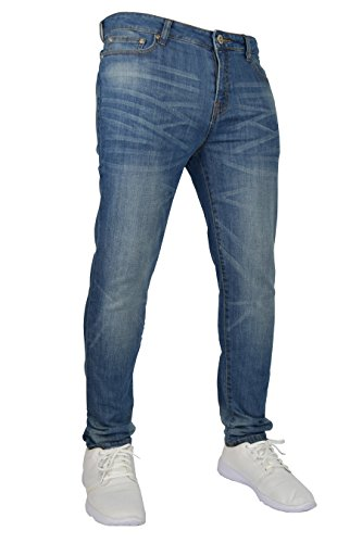 New Herren Stretch Skinny Slim Fit Flex Jeans Hose dehnbar Denim 98% Baumwolle & 2% Stretch Hosen, Skinny, Größe 34W x 30L (34S UK), Farbe Hellblau