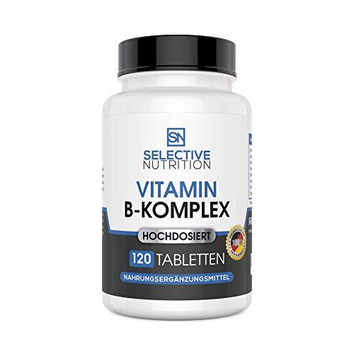 Vitamin B Komplex hochdosiert - Alle 8 B-Vitamine B1 B2 B3 B5 B6 B7 (Biotin) B9 (Folsäure) B12 in optimaler Dosierung. 120 Stück vegan