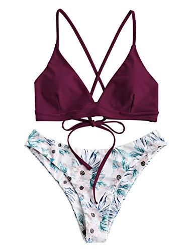 ZAFUL Damen Push Up Gepolsterter Bikini-Set Blatt Drucken Badehose Bademode Badeanzug (S, Rot-2)