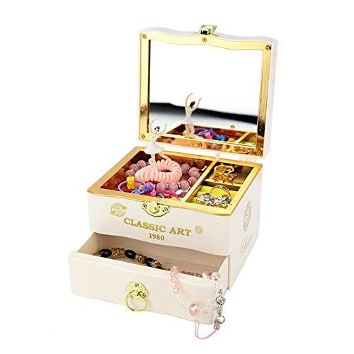 Joyero musical vintage, giratorio para regalo con bailarina bailarina y cajón extraíble para guardar joyas para el día de San Valentín y niñas
