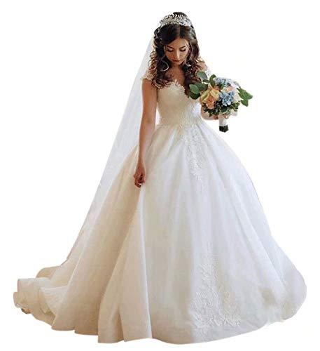 QueenBridal Women's Applique Ball Gown Wedding Dress Organza Long Prom Dress for Bride QU310 White