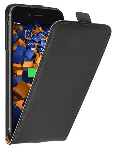 mumbi Echt Leder Flip Case kompatibel mit iPhone 7 Plus / 8 Plus Hülle Leder Tasche Case Wallet, schwarz