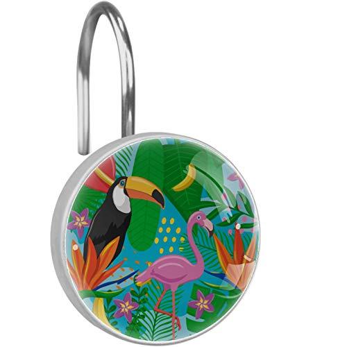 KAMEARI Duschvorhang-Haken, rostfrei, tropische Palmen, Banane, Tukan, Pink Flamingo
