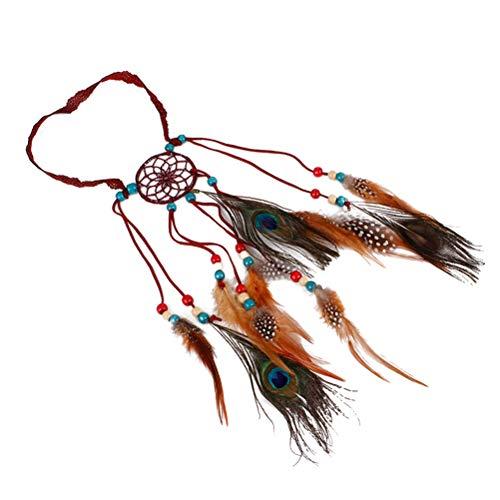Lurrose Diadema Pluma Atrapasueños Tocado Estilo Bohemio Boho Gorros Cascos nativos Americanos...