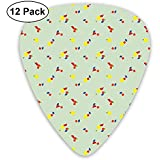 Medallas Pattern Guitar Picks Set 12 Púas de ukelele, incluyendo 0.46 mm, 0.71 mm, 0.96 mm guitarra acústica Pick and Pick Box