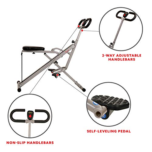 Product Image 4: Sunny Health & Fitness Squat Assist Row-N-Ride Trainer for Glutes Workout with Training Video