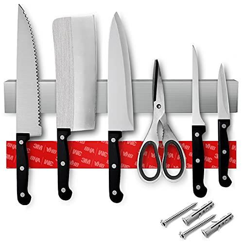 Loco Bird Magnetleiste Messer 40cm - selbstklebend mit 3M VHB Klebeband - Messerleiste Edelstahl für Küchenutensilien oder Werkzeugen - Messerhalter magnetisch Wandmontage für Küche ohne Bohren