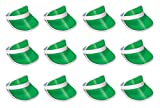 Beistle 12 Piece Clear Plastic Dealer's Visor Hats Casino Party Supplies And Favors, One Size, Green