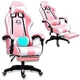 Grykon Silla de ordenador para juegos con masajeador, ergonómica, silla de oficina, silla de carreras, silla de ordenador, reposacabezas ajustable con respaldo alto, reposapiés y reposabrazos (rosa)