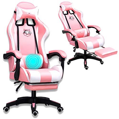 Grykon Computer-Gaming-Stuhl mit Massagegerät. Ergonomischer Bürostuhl Gaming-Rennstuhl, Computer-Stuhl, verstellbare Kopfstütze mit hoher Rückenlehne Fußstütze und Armlehne (Rosa)